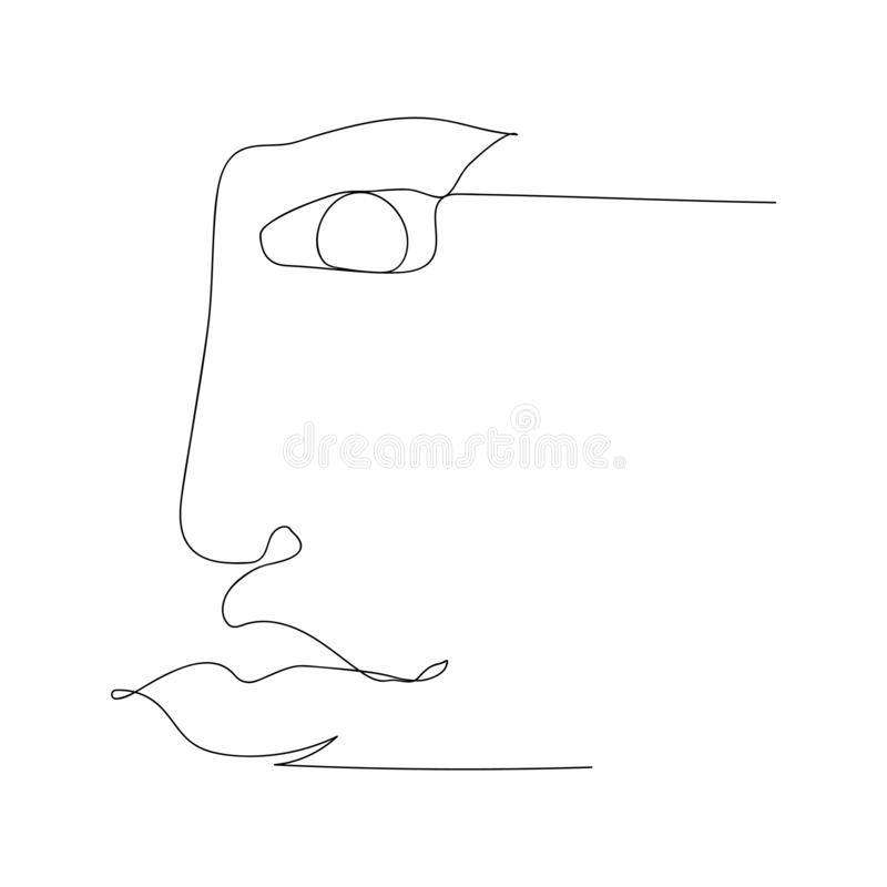 continuous line drawing of part of woman face. isolated sketch drawing of part woman face line concept. outline thin stroke vector stock illustration