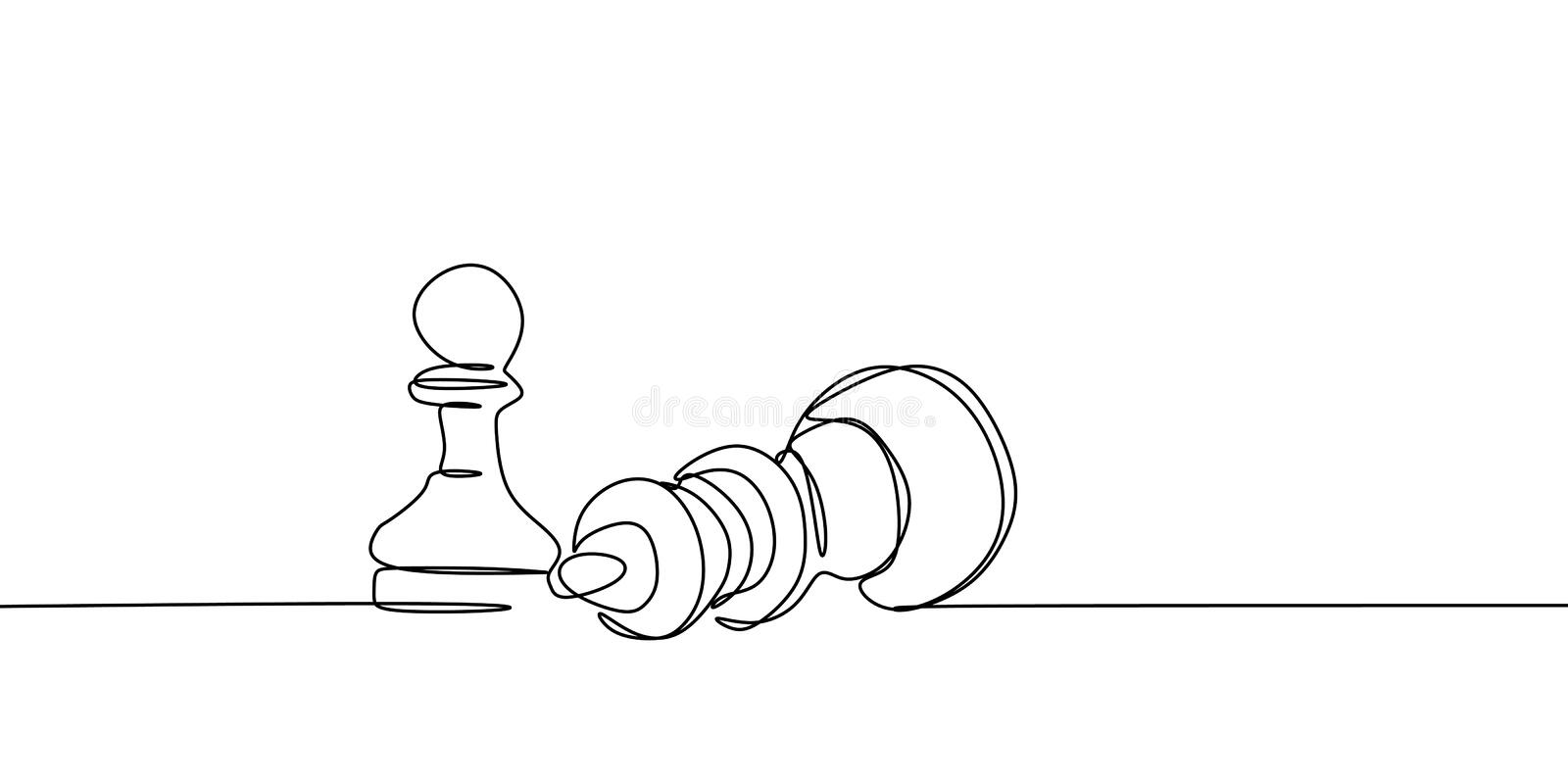continuous line drawing of a pawn bearing down a queen on board tournament vector illustration royalty free illustration