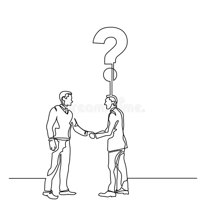 Continuous line drawing of people meeting a new question stock illustration
