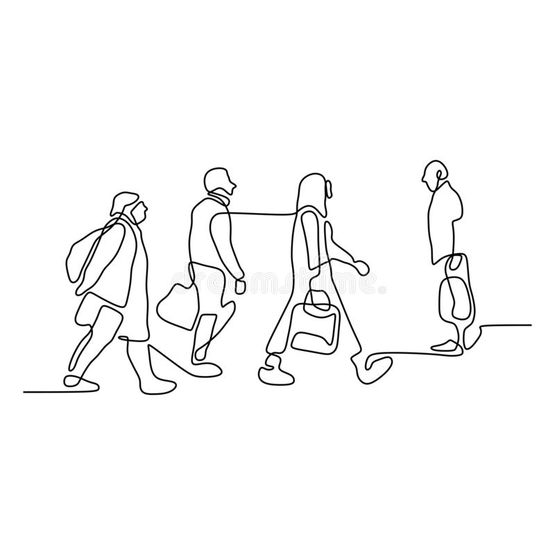 Continuous line drawing of people walking on the street after work time conteptual hand drawn minimalism lineart design isolated stock illustration