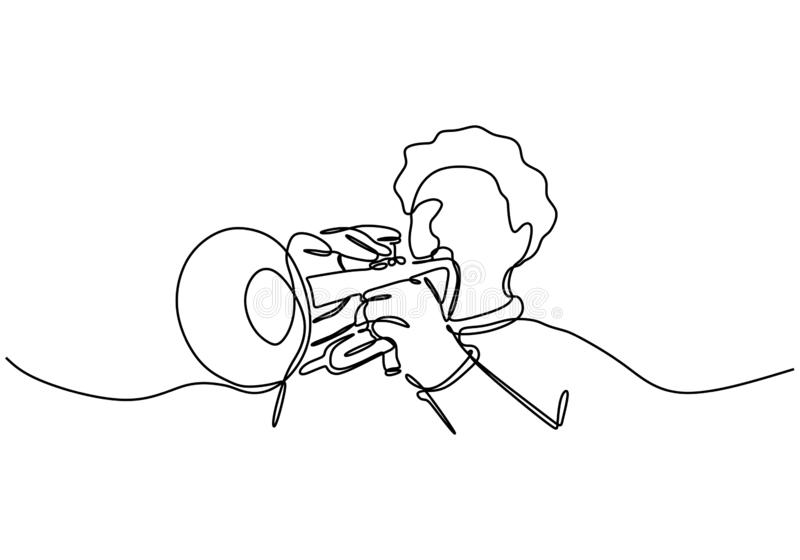 Continuous line drawing of person playing cornet. A brass instrument similar to the trumpet vector illustration jazz theme stock illustration