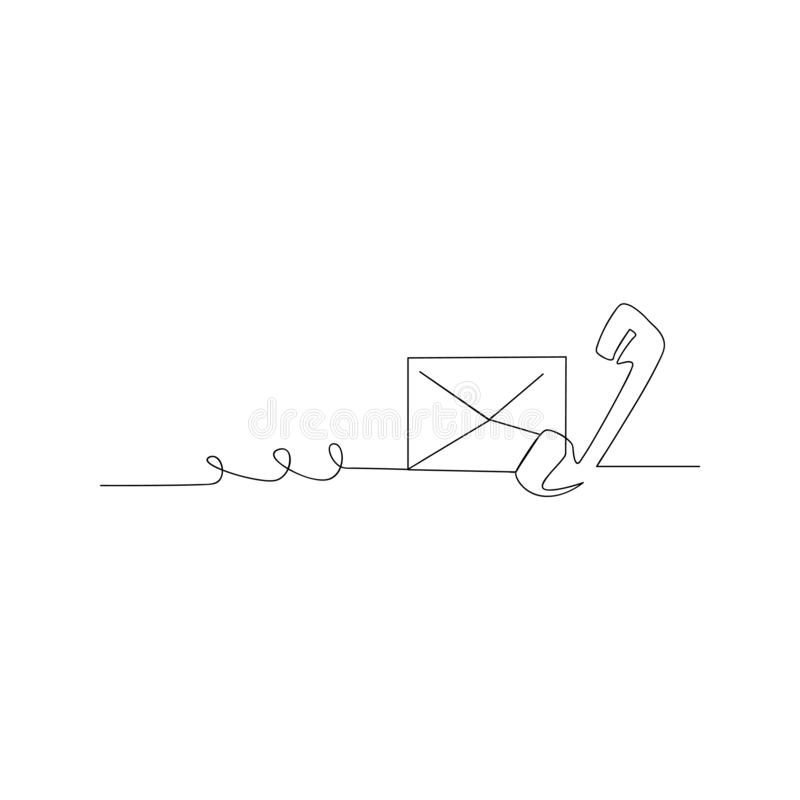 continuous line drawing of phone and mail. isolated sketch drawing of phone and mail line concept. outline thin stroke vector stock illustration