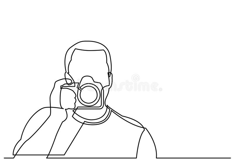 Line Drawing Editor : Continuous line drawing of photographer holding camera