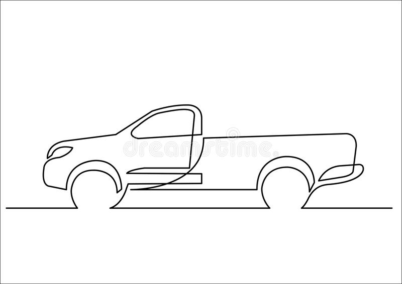 Line Drawing Editor : Continuous line drawing of pickup truck stock vector