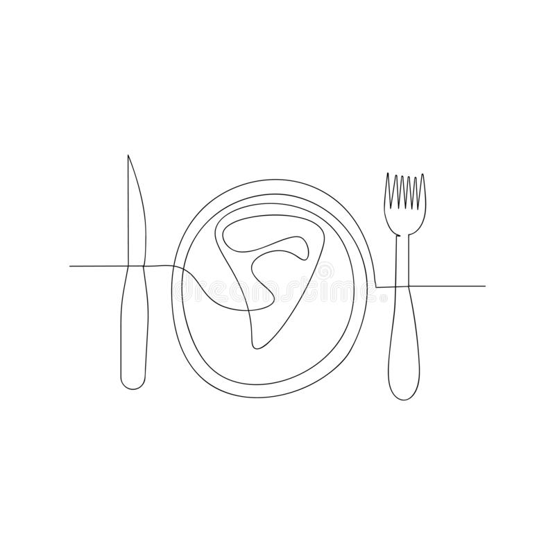 continuous line drawing of pizza on a plate. isolated sketch drawing of pizza on a plate line concept. outline thin stroke vector vector illustration