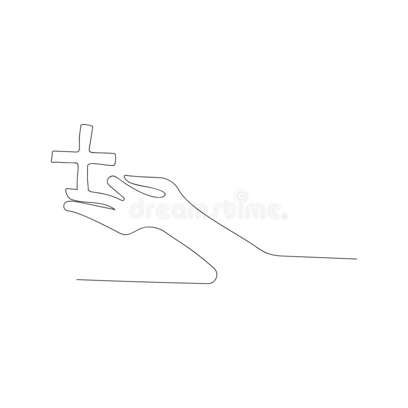 continuous line drawing of plus on hand. isolated sketch drawing of plus on hand line concept. outline thin stroke vector stock illustration