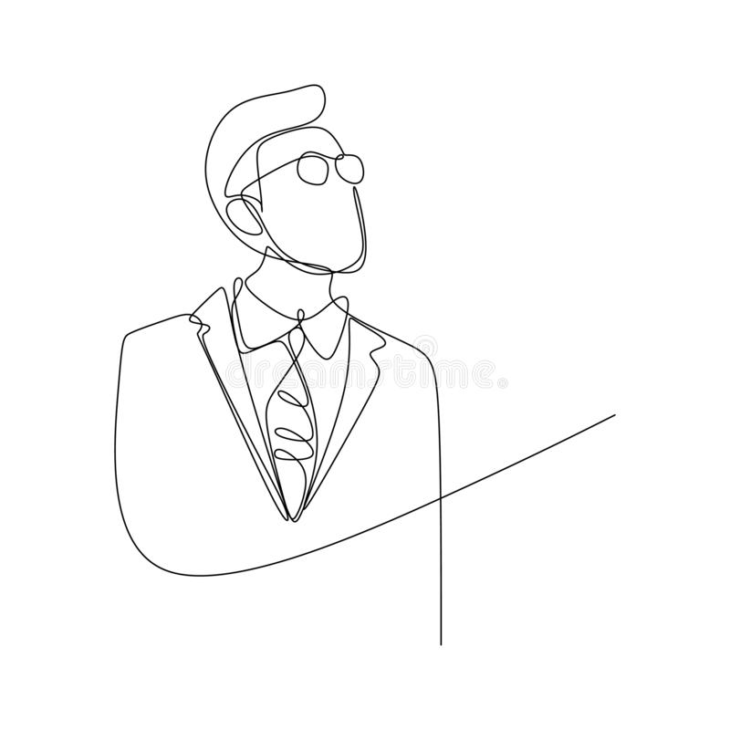 Continuous line drawing of portrait of businessman with glasses vector illustration