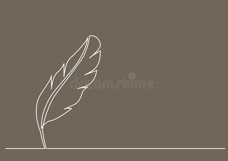 Line Drawing Of Quill : Continuous line drawing of quill stock vector illustration