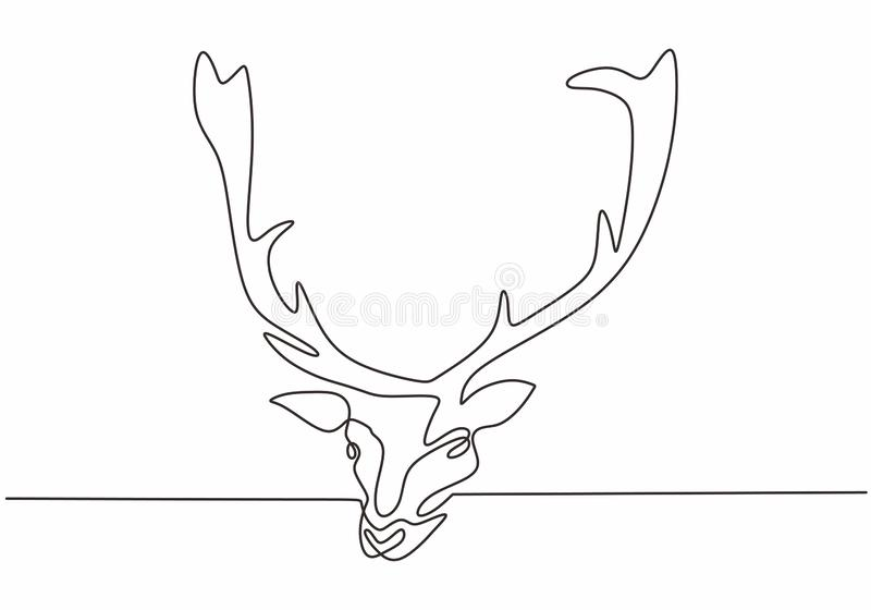 Continuous line drawing of reindeer head vector. Winter animal mascot hand drawn sketch minimalism design. One single lineart stock illustration