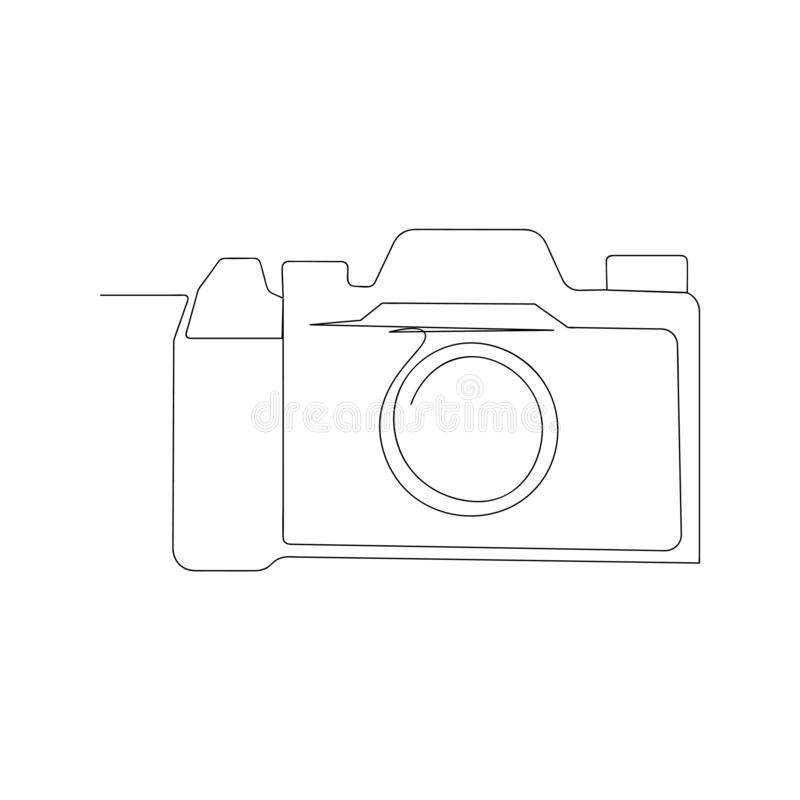 Continuous line drawing of retro photo camera. isolated sketch drawing of retro photo camera line concept. outline thin stroke. Vector illustration royalty free illustration