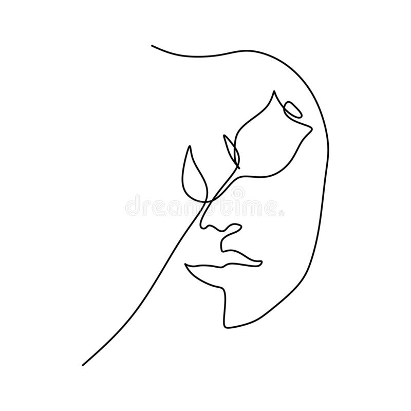 Continuous line drawing of rose flower and girl face minimalism style single one lineart vector. One Continuous line drawing of rose flower and girl face stock illustration