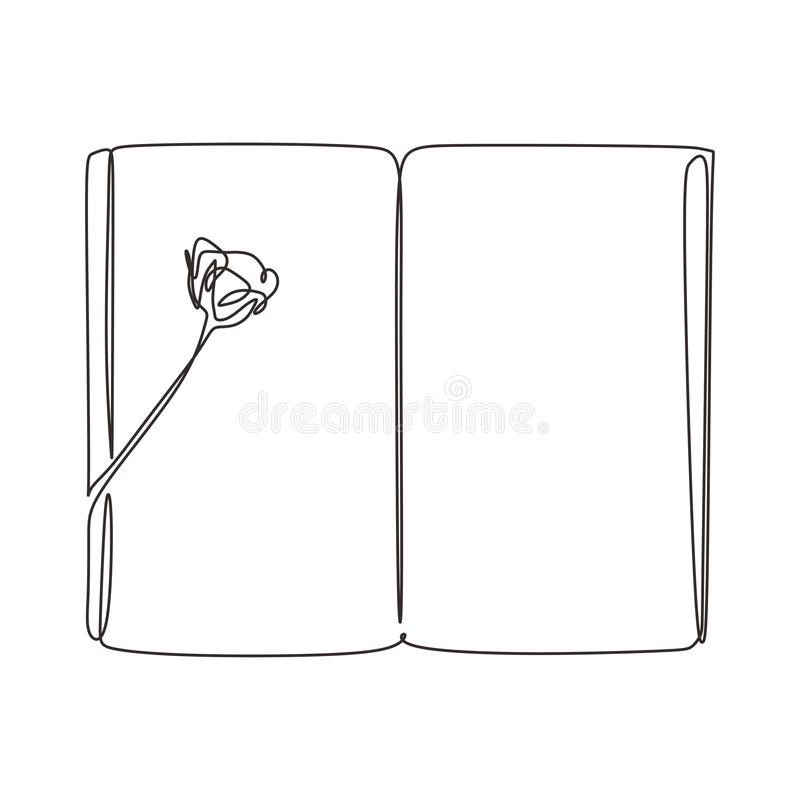 Continuous line drawing of rose flower on piece of opened book vector illustration. Minimalism design for celebration and gift royalty free illustration