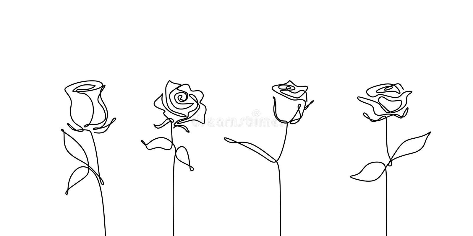 Continuous line drawing of rose flower set collections minimalism design royalty free illustration