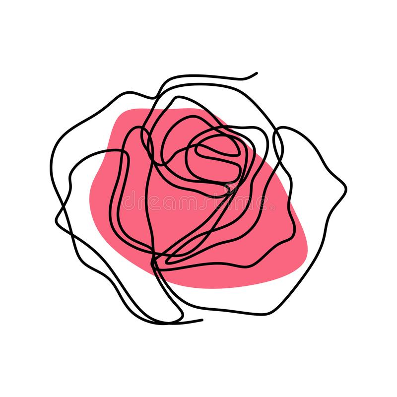 Continuous line drawing of rose flower vector royalty free illustration