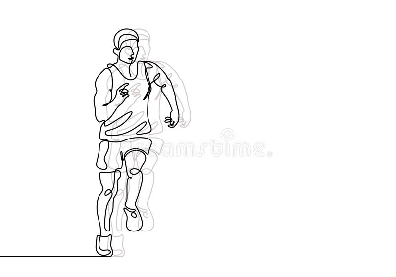 Continuous line drawing of runner minimalist design. Person doing exercise sport run for healthy body fit royalty free illustration