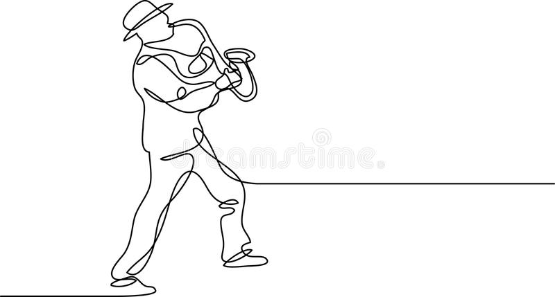 Continuous line drawing of saxophone player vector illustration