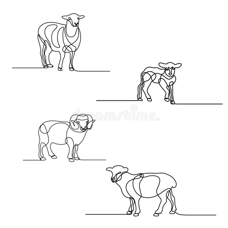 Continuous line drawing set of sheeps. Design elements for islamic holidays. Vector illustration. royalty free illustration