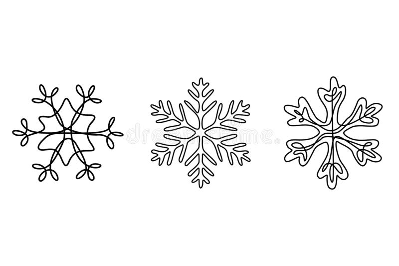 Continuous line drawing set of snowflakes, winter theme. stock illustration