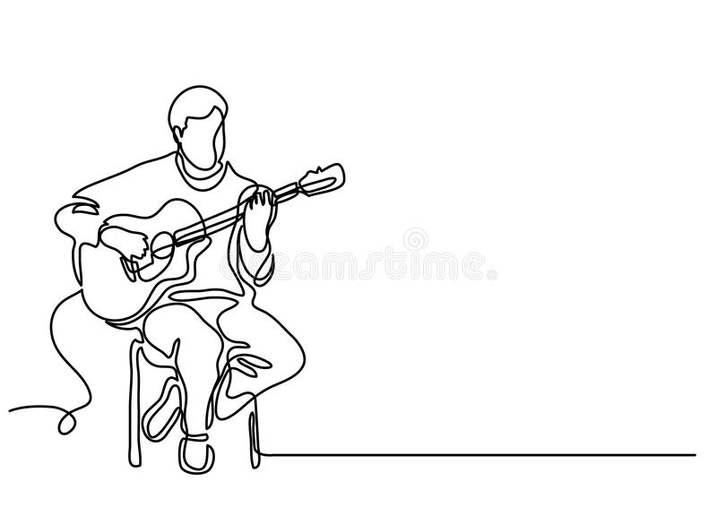 Continuous line drawing of sitting guitarist playing guitar stock illustration