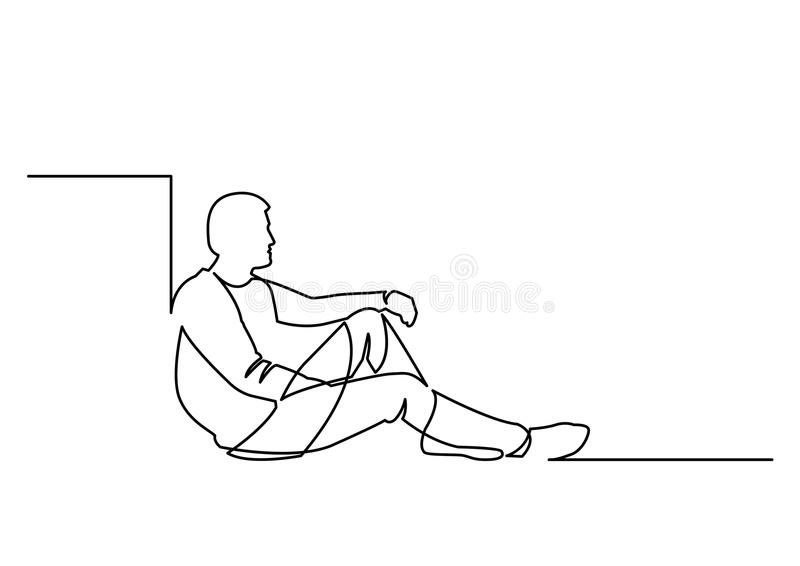 Continuous line drawing of sitting man stock illustration