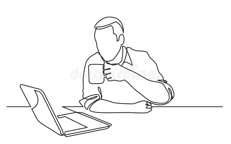Continuous line drawing of sitting man watching laptop computer drinking coffee royalty free illustration