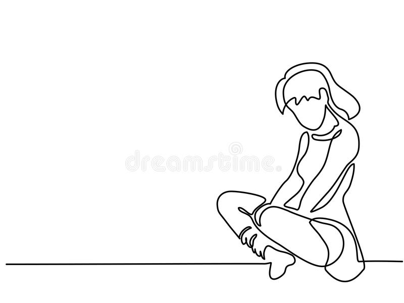 Continuous line drawing. Sitting sad girl royalty free illustration
