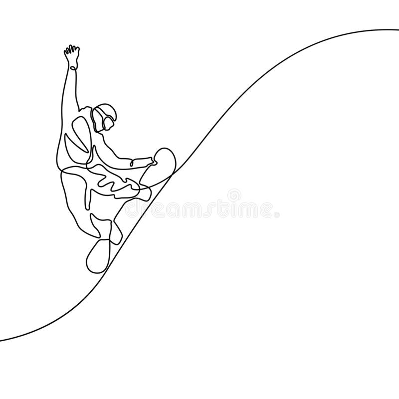 Continuous line drawing Snowboarder jumps vector vector illustration