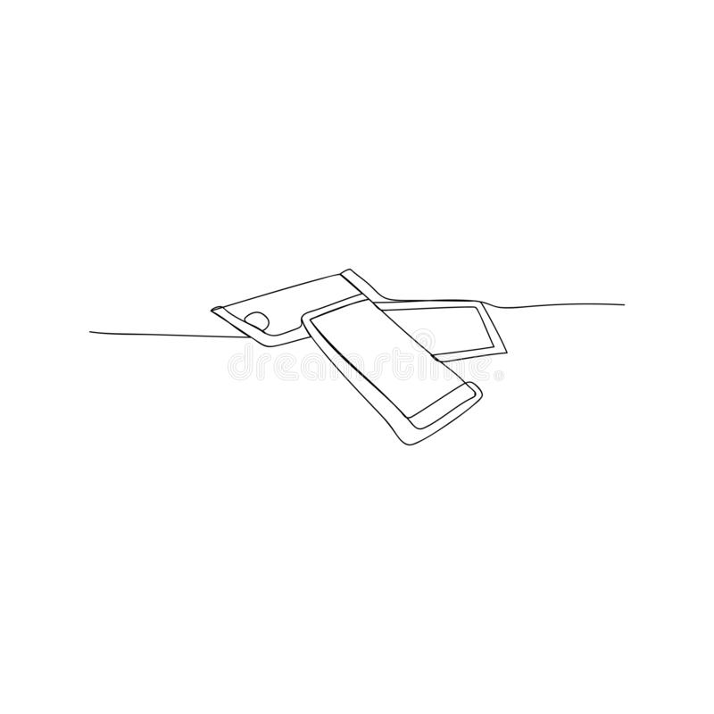 Continuous line drawing of social media on mobile phone. isolated sketch drawing of social media on mobile phone line concept. Outline thin stroke vector royalty free illustration