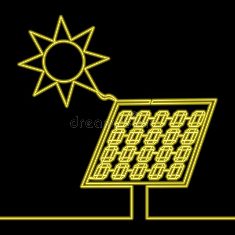 Free Continuous Line Drawing Solar Panel Neon Concept Stock Image - 166268171