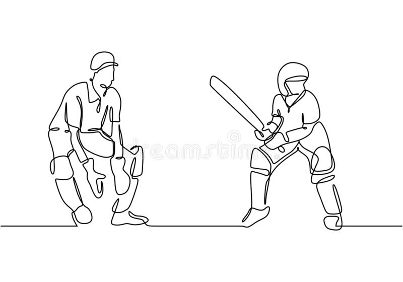 Continuous line drawing sport theme, Two person playing cricket game during the match competition vector illustration. Minimalism. Style of lineart hand drawn royalty free illustration