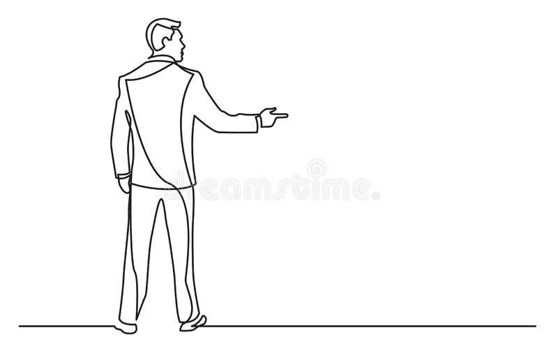 Continuous line drawing of standing businessman pointing finger stock illustration