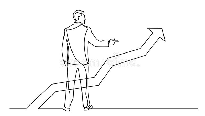 Continuous line drawing of standing businessman pointing finger at growing graph royalty free illustration