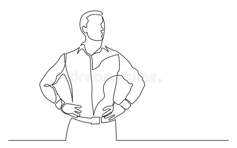 Continuous line drawing of standing confident man. Vector linear monochrome style image - vector linear monochrome style image royalty free illustration