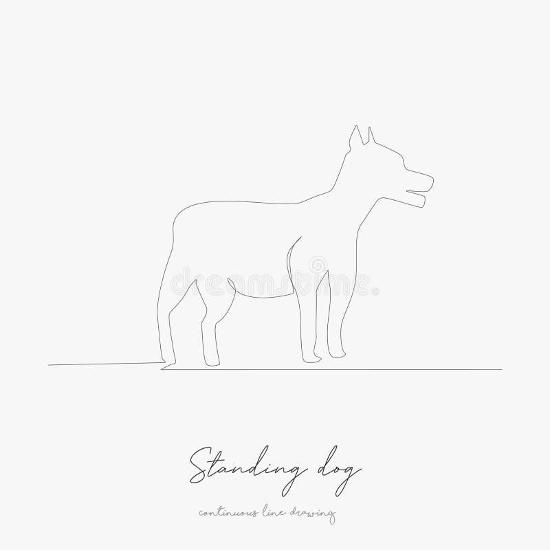 Hand Drawing Illustration Bulldog Standing Stock