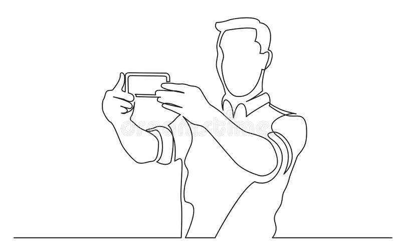 Continuous line drawing of standing man making selfie with his mobile phone. Vector linear monochrome style image stock illustration