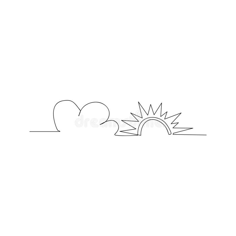 continuous line drawing of sun and cloud. isolated sketch drawing of sun and cloud line concept. outline thin stroke vector royalty free illustration
