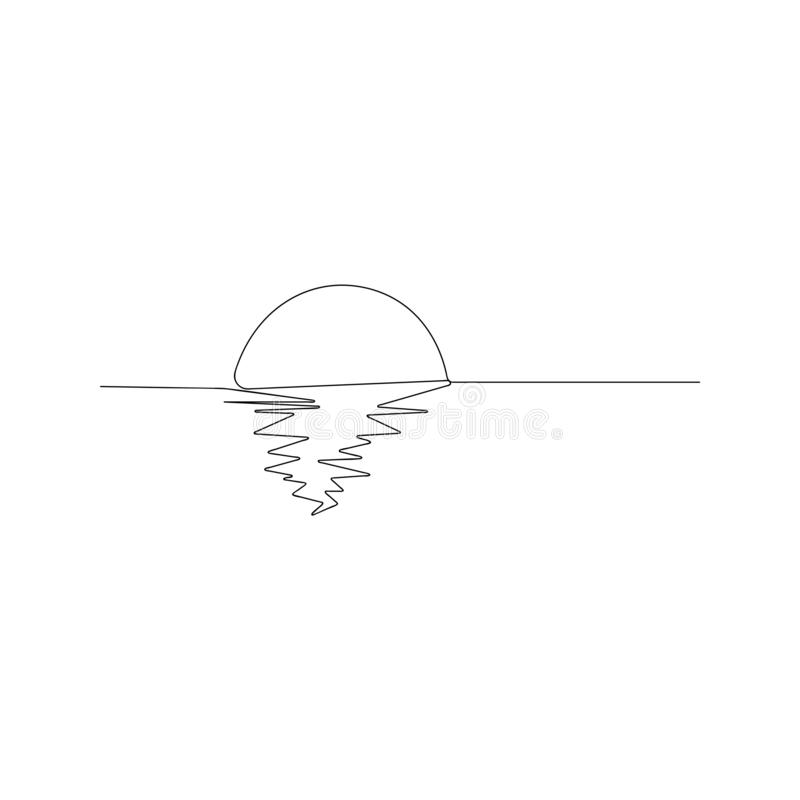 continuous line drawing of sunny ocean view. isolated sketch drawing of sunny ocean view line concept. outline thin stroke vector vector illustration