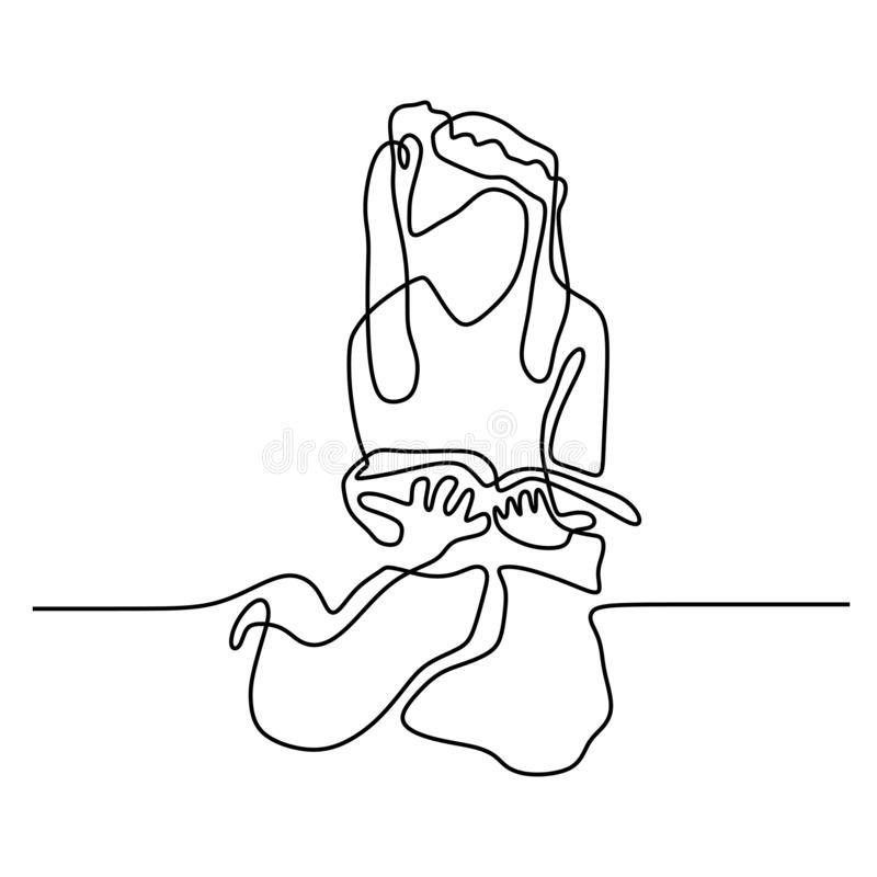 Continuous line drawing teenager girl reading book vector illustration minimalist concept education back to schhol theme. School, sketch, outline, isolated stock illustration