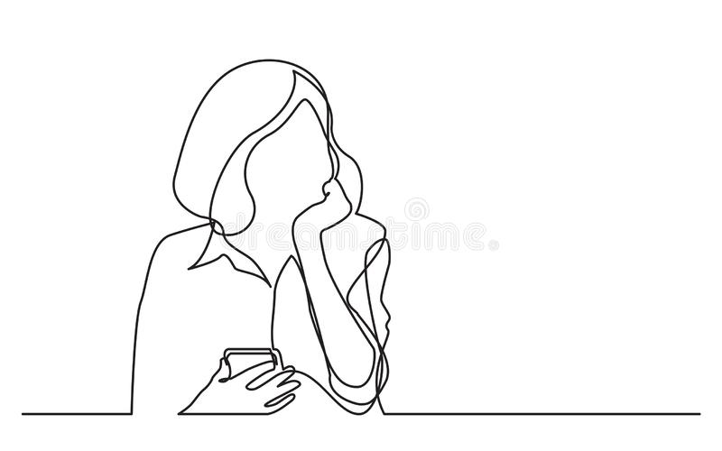 Continuous line drawing of thinking woman holding cell phone vector illustration