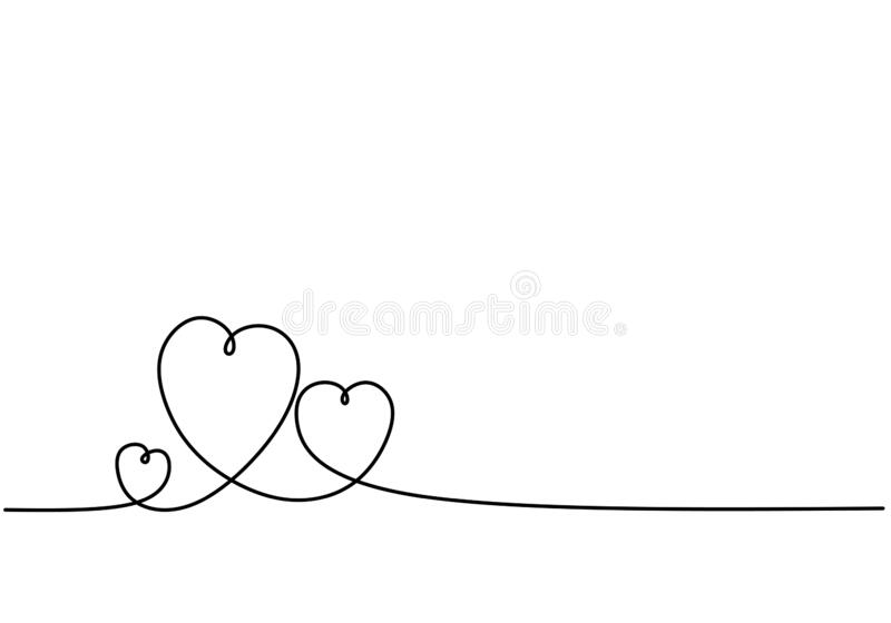 Continuous line drawing of three hearts. Black and white vector minimalist illustration of love concept minimalism one hand drawn. Sketch romantic theme stock illustration