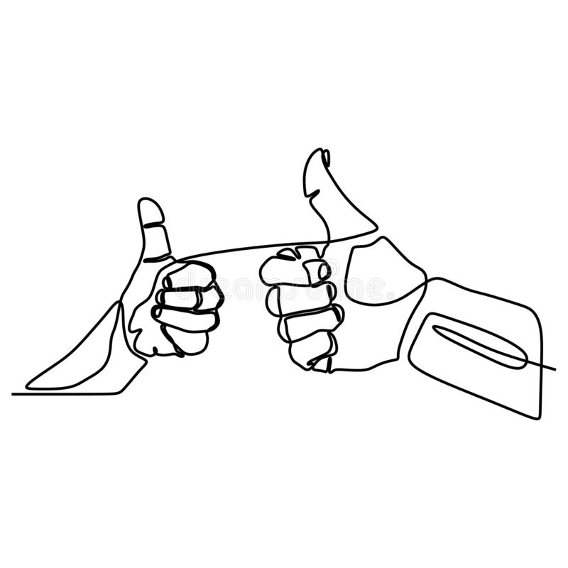 Continuous line drawing thumbs up hand gesture concept of fine, agree, and okay vector illustration
