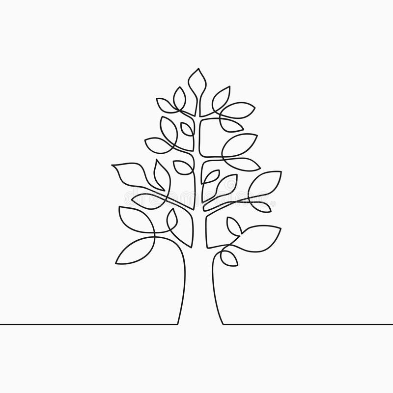 Continuous line drawing of tree with leaf. One line wood, plant and leaves. Hand-drawn illustration for logo, emblem. stock illustration