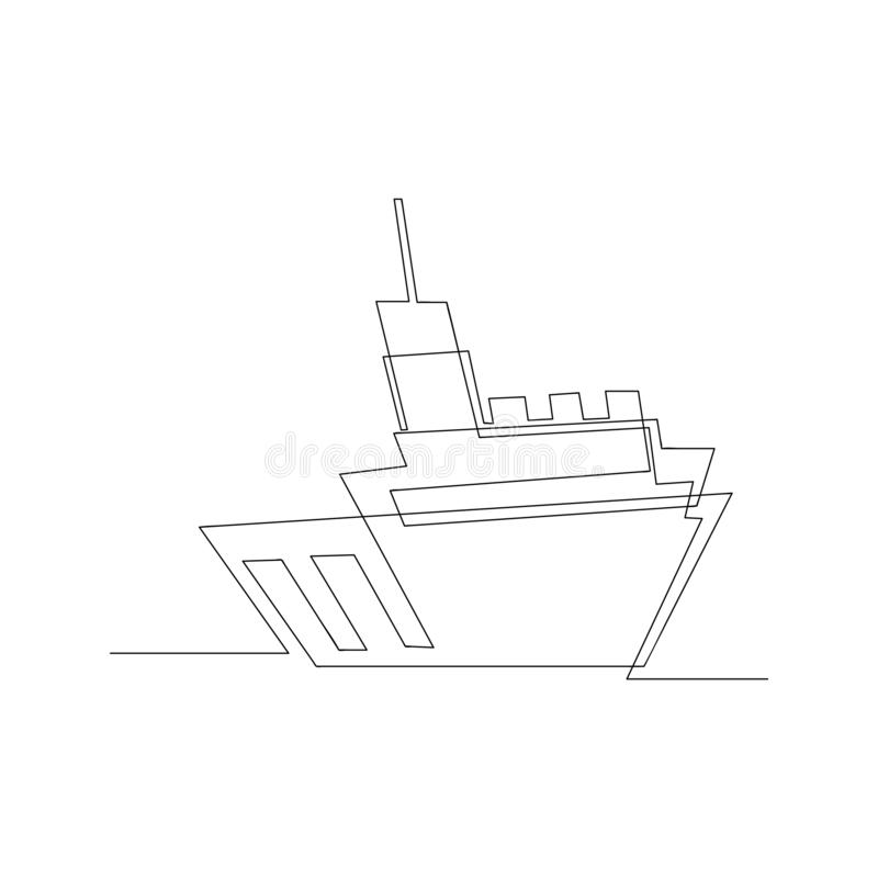 continuous line drawing of tugboat shipping. isolated sketch drawing of tugboat shipping line concept. outline thin stroke vector stock illustration