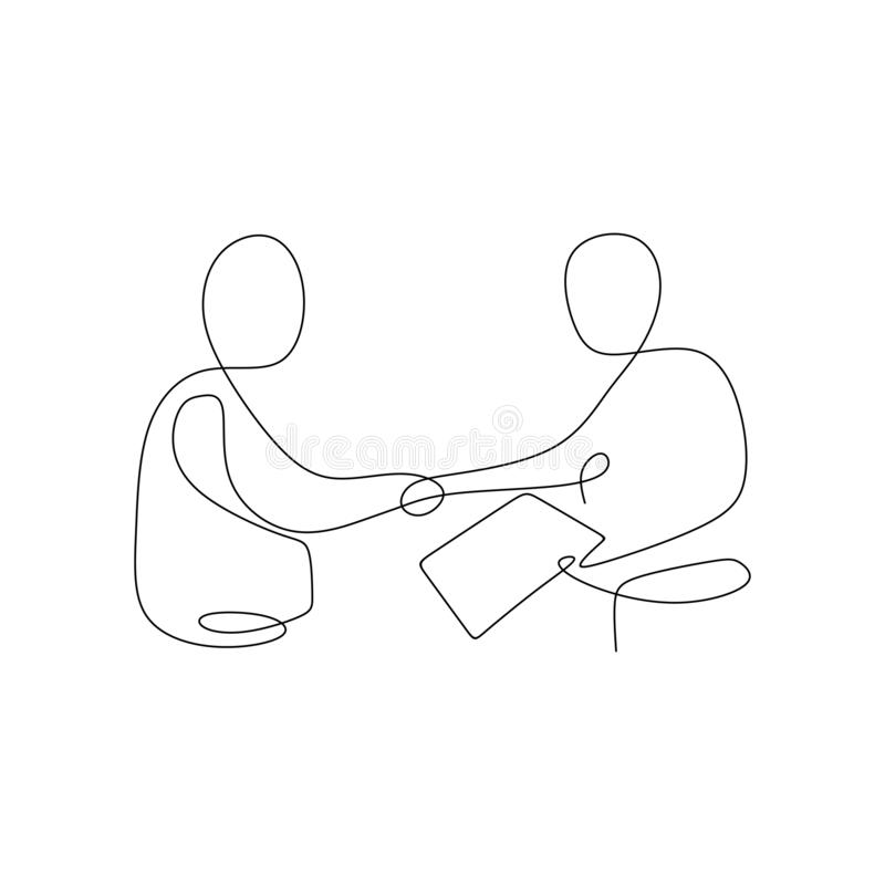 continuous line drawing of two person shaking hand and legalization a business contract stock illustration