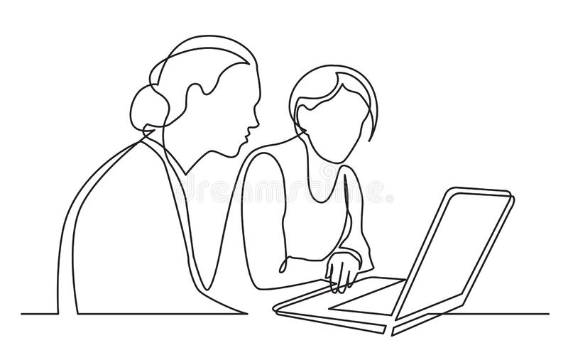 Continuous line drawing of two women sitting and watching laptop computer. Vector linear monochrome style image stock illustration