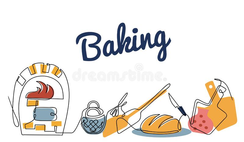 Continuous line drawing vector baker set, color sketch of bread maker accessories. One line hand drawn illustration vector illustration