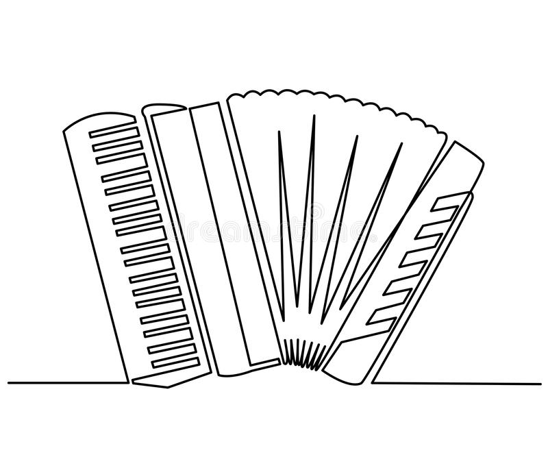 Continuous Line Drawing of Vector classic accordion. Vintage musical instrument harmonica. Music symbol, simple vector royalty free illustration