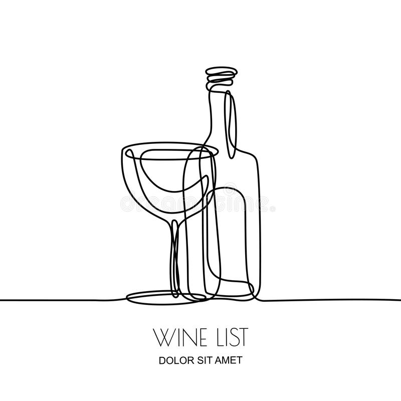 Continuous line drawing. Vector linear black illustration of wine bottle and glass isolated on white background. Concept and design elements for wine list vector illustration