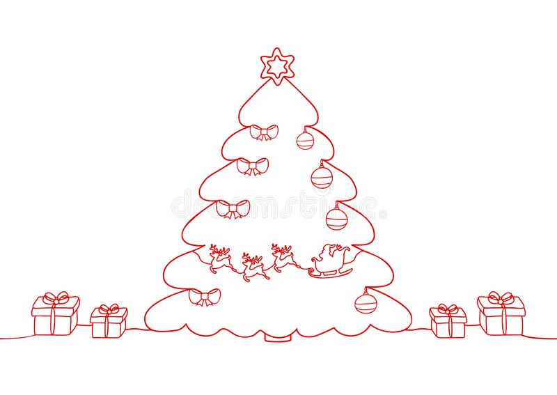 Continuous line drawing of a Christmas holiday, Santa Claus on a sleigh, deer, Christmas tree and toys, Snowflakes, Gifts. stock illustration