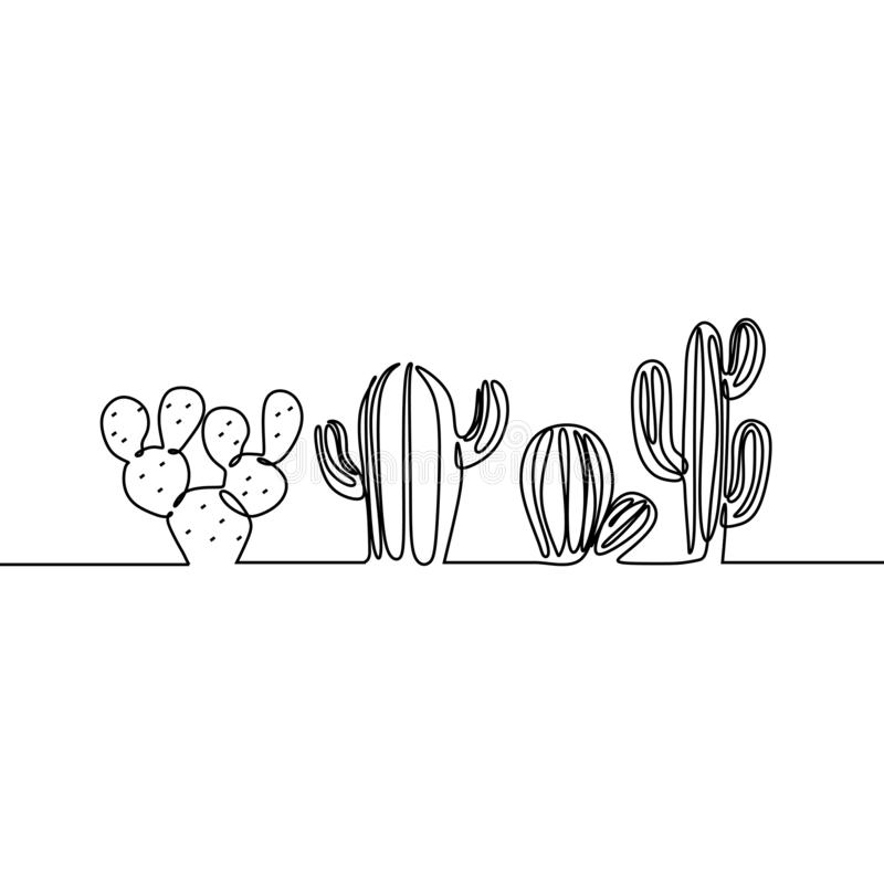 Continuous Line Drawing of Vector Set of Cute Cactus Black and White Sketch House Plants Isolated on White Background. Potted royalty free stock image